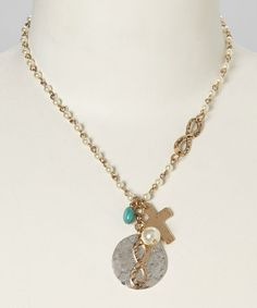 Take a look at this Turquoise & Gold Cross Pendant Necklace by Gabrielle Jewelry on #zulily today! $24 !!