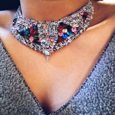Fashion-Multi-Color-Crystal-Choker-Collar-Women-Bib-Statement-Necklace