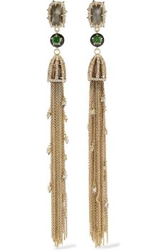 ALEXIS BITTAR GOLD AND GUNMETAL-PLATED CRYSTAL AND ENAMEL EARRINGS  $177.75 http://www.theoutnet.com/product/891929