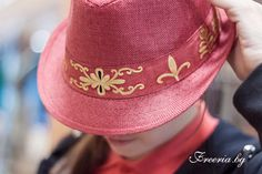 Red hat with painted by hand ribbon Red Hats, Ribbon, Fashion, Tape, Fashion Styles, Band, Fashion Illustrations, Bows, Trendy Fashion