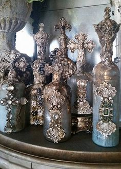 Michelle Butler Designs Decorative Antiqued Bottles