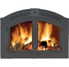 Napoleon High Country EPA Zero Clearance Wood Burning Fireplace Black Fireplace Built-In Wood Fireplace Doors, Fireplace Inserts, Custom Fireplace, Rustic Elegance, Rustic Style, Zero Clearance Fireplace, Wood Burning Insert, Art And Technology, Double Doors