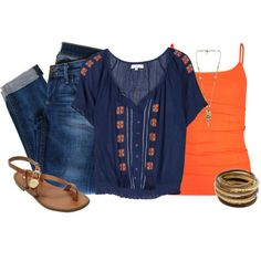 Love the pop of orange! Untitled #384 by ohsnapitsalycia on Polyvore