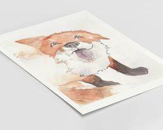Fox Animal Art Print | Illustration from Photo | Wildlife Painting | Animal Cartoon Nursery Prints | Drawing Artist