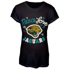 Jacksonville Jaguars - Peace Love Girls Youth T-Shirt