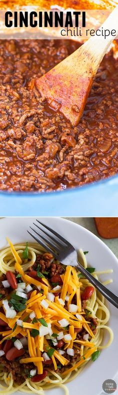Beef chili is served over spaghetti and topped with beans, cheese and onion in this traditional Cincinnati Chili Recipe. Beef chili is served over spaghetti and topped with beans, cheese and onion in this traditional Cincinnati Chili Recipe. Chilli Recipes, Soup Recipes, Cooking Recipes, Kabob Recipes, Fondue Recipes, Healthy Recipes, Muffin Recipes, Shrimp Recipes, Clean Recipes