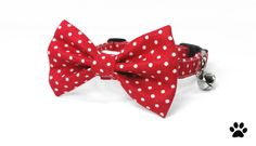 Youll love these classic polka dots, and will especially love the classic red and white combination! Perfect for either gender! RHC Pets bow tie and collar sets are a perfect adornment for any fashion-conscious cat or dog. Compliment your furry friend with this high quality, handmade set while helping out other animals in the process!   All bow tie and collar sets are made with soft, high quality, 100% cotton and are interfaced to maintain their style and shape.  Bow ties attach snugly to…