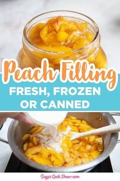 How to make your own homemade peach filling using fresh, frozen, or canned peaches! This peach filling is great for pie, hand pies, cake filling, or fruit topping! Takes less than 10 minutes to make. Fresh Peach Pie, Fresh Peach Recipes, Peach Crisp, Canning Peach Pie Filling, Fruit Pie, Fruit Hand Pies, Fruit Bars, Fried Peach Pies, Peach Sauce