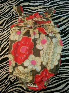 Carter's Baby Girl Brown Coral Flowers Romper Creeper Outfit Size 9 M $4