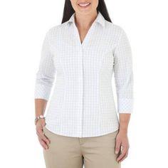 Riders by Lee Women's Classic 3/4 Sleeve Wrinkle Resistant Career Shirt, Multicolor