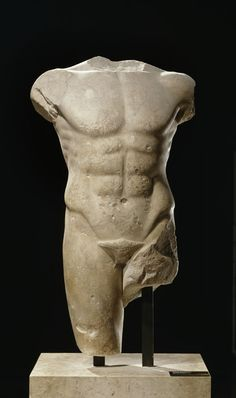 Male Torso  Parian marble from island of Miletos  Severe early classical style  Circa 480-470 B.C.  The Louvre