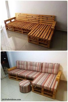 Wooden pallets used to make a super comfy couch! Cute and inexpensive idea.
