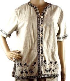 Women's Size M Premier International Beige Black Short Sleeve Button Up Blouse #PremierInternational #Blouse #Casual