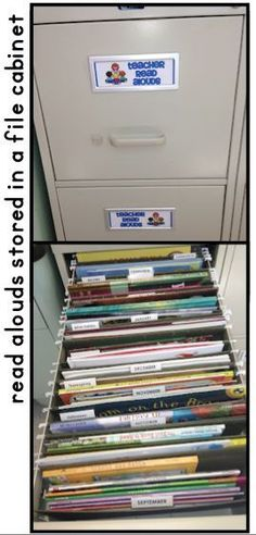 This teacher stores and organizes her book read alouds in a file ...