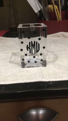Monogram toothbrush holder