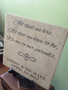 Large Laser Engraved Parent's Wedding Ceramic Tile Gift Sign, Customized, Personalized with name and date, Engagement on Etsy, $30.00