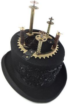 Steampunk Hat Black Top Hat in Wool Felt by DrBrassysSteampunk