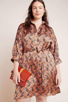 Plus Size Printed Shirtdress for Fall | Eva Franco Edeline Abstract Shirtdress