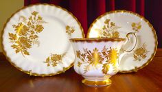 "Nice Royal Albert Tea Trio Set @ ""Golden Glory"" Pattern Very Rare Mint condition"