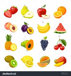 Set Of Colorful Cartoon Fruit Icons: Apple, Pear, Strawberry, Orange, Peach, Plum, Banana, Watermelon, Pineapple, Papaya, Grapes, Cherry, Kiwi, Lemon, Mango. Vector Illustration, Isolated On White. - 386383747 : Shutterstock
