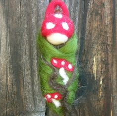 Ornament - Toadstool Baby - Waldorf Inspired Needle Felted Soft Sculpture - gnome tree ornament