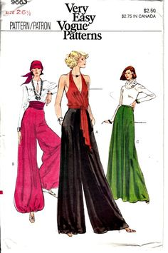 Bohemian 1970s Retro Palazzo Pants Pattern  Vogue 9663  by ShellMakeYouFlip, $28.50