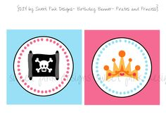 Happy Birthday Banner- Pirates and Princess Party Collection. $6.50, via Etsy.
