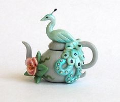 Miniature Lovely Peacock Teapot OOAK by C. by ArtisticSpirit