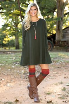 Take Me Back Dress-Olive - New Today | The Red Dress Boutique