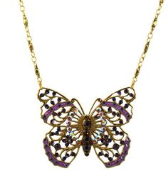 Anne Koplik Antique Gold Plated Large Filigree Butterfly Necklace with Swarovski Elements Crystal *** Visit the image link more details.