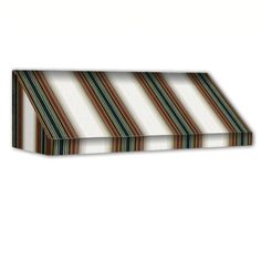 AWNTECH 10 ft. New Yorker Window/Entry Awning (18 in. H x 36 in. D) in Burgundy/Forest/Tan Stripe, Red