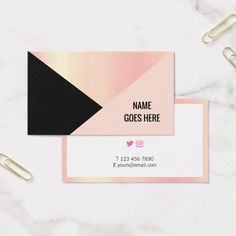 Shop Trendy Geometric Gold Pink Business Card created by AffordPrint. Personalize it with photos & text or purchase as is! Foil Business Cards, Hue Color, Pink Black, Business Card Design, Personal Trainer, Make It Yourself, Card Ideas, Entrepreneur, How To Make