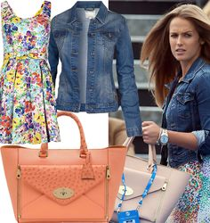 Kim Sears in floral dress, denim jacket and Mulberry Willow