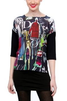 Panese Desigual blouse from the Desigual by L. Designs and motifs on black fabric. Round cut neck, and three-quarter sleeves. Black Fabric, Boho Chic, Shop Now, Topshop, Graphic Sweatshirt, Clothes For Women, My Style, Blouse, Sleeves