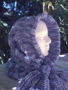 Shades of Blue Scood hand knitted by Mountain Mist Fiberworks https://www.etsy.com/shop/MountainMist
