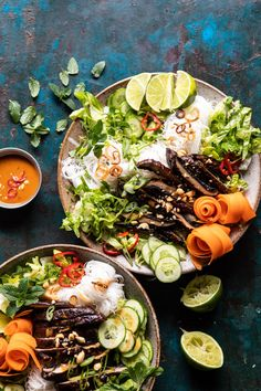 Vietnamese Rice Noodle Salad with Mushrooms and Spicy Peanut Vinaigrette - Half Baked Harvest Marinated Grilled Mushrooms, Vietnamese Rice, Stuffed Mushrooms, Stuffed Peppers, Half Baked Harvest, Rice Noodles, Healthy Salad Recipes, Healthy Spring Recipes, Special Recipes