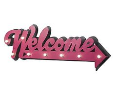 Insegna luminosa a led Welcome, 74x27x5 cm