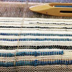 I work when I'm emotionally overwhelmed. Today I finished 4 Weaving's (14 feet). #fiber #naturaldyeing #textiles #bridgettesegraves #weaving #loom #fiberart