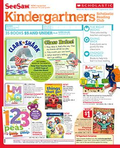 The September 2013 Kindergartners flyer of the Scholastic Reading Club!