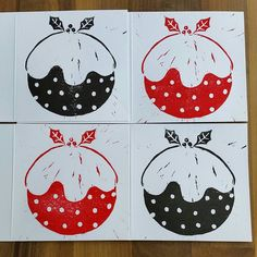 lino cuts xmas puddings