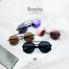 "miramadisonbrand New arrival item ""Bonita"" Series  แว่นตากันแดดลุคเท่ห์ รุ่น โบนิต้า โดยมีดีเทลเก๋ไก๋ ทรงกลม สไตล์ความเท่ห์มีสไตล์ไปในตัว ใช้วัสดุอย่างดี ใส่ได้ทุกเพศ (unisex) รุ่นนี้เป็นรุ่นฮอตฮิตมาแรงเรยนะจ้ะ (วางขายแล้วทุกสาขาที่มี shop @miramadisonbrand มี4แบบนะค่ะ ดำ(Black)/น้ำตาลชา(Tea brown )/ม่วง(Violet)/ชมพู(pink)"