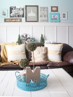 Cool tips for decorating with family pics. Cute gallery wall!