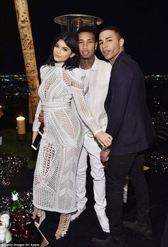 Kylie Jenner at Olivier Rousteing's birthday with Kim and Kourtney Kardashian | Daily Mail Online