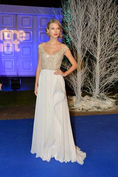 Taylor Swift Embroidered Champagne White Pageant Prom Dress Winter Whites Gala
