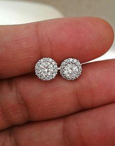 2f6eec2cc 2Ct Diamond Halo Stud Earrings Brilliant Round Diamond Earring 14k White  Gold Fn #bravoj51 #Stud