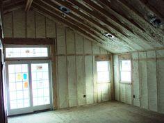 Spray foam insulated room Fiberglass Insulation, Home Insulation, Spray Foam Insulation, Energy Saving Tips, Energy Saver, Save Energy, Attic, Cold Weather, Construction