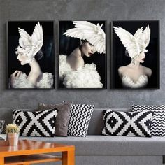 Wing Fairy Girl Feather Wall Art Canvas Painting Abstract Nordic Poster Modern Cuadros Wall Pictures For Living Room Unframed 3 Piece Canvas Art, Canvas Wall Art, Canvas Prints, Nordic Art, Nordic Style, Canvas Poster, Poster Prints, Feather Wall Art, Living Room Pictures