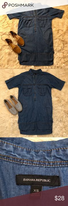 Banana republic denim tunic dress Banana republic denim hi low tunic dress in great used condition. The stress is so versatile and a great easy piece for summer. It has two side pockets and two front pockets Banana Republic Dresses