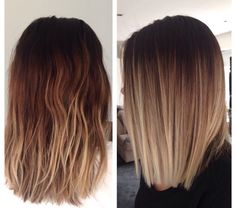 The ombre hair trend has been seducing for some seasons now. More discreet than tie and dye, less classic than sweeping, this new technique of hair. Ombre Hair Color For Brunettes, Hair Color Balayage, Medium Hair Styles, Short Hair Styles, Short Straight Hair, Thin Hair, Brunette Hair, Hair Looks, Hair Lengths