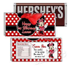 Minnie Mouse Candy Bar Wrapper to Match by MyCelebrationShoppe, $5.00